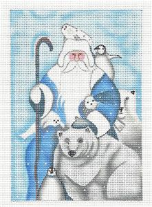 Santa & Polar Bears in Blue & White Handpainted Needlepoint Canvas LA