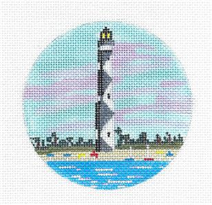 "Round- ""Cape Lookout Lighthouse"" North Carolina handpaint Needlepoint Canvas by Purple Palm"