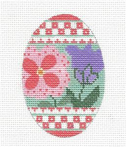 Egg-Spring Flowers handpainted Needlepoint Canvas by CH Design - Danji