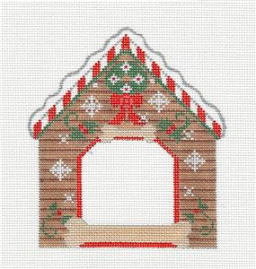 Canvas- DOG HOUSE Picture Frame Dog Bone HP Needlepoint Ornament by CH Designs ~ Danji