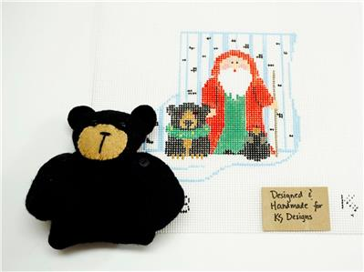 Canvas SET ~ SANTA & BLACK BEAR CANVAS SET ~ handpainted Needlepoint Mini Stocking Ornament & BEAR by Kathy Schenkel