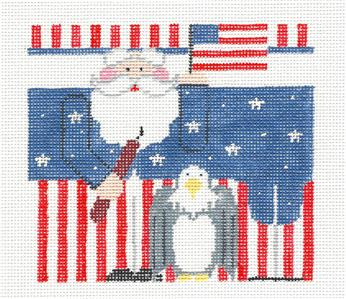 Roll Up~Patriotic Santa Roll Up Ornament & STITCH GUIDE HP Needlepoint Canvas Kathy Schenkel