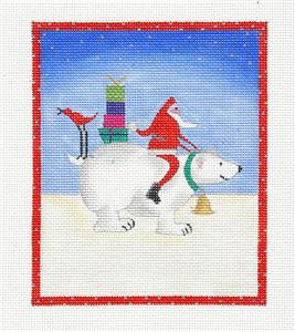 Santa Riding a Polar Bear with Gifts handpainted Needlepoint Canvas by BB