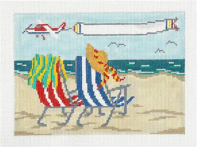 Canvas~Beachside with Banner Plane handpainted Needlepoint Canvas by Needle Crossings