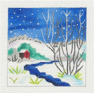 Canvas~Mill Stream in Winter handpainted 13 mesh Needlepoint Canvas ~ JulieMar