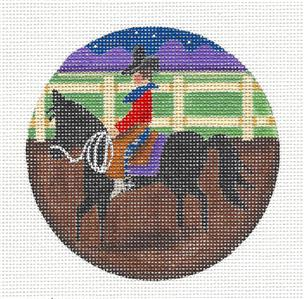 Round ~Western Horse & Rider Ornament handpainted Needlepoint Canvas Rebecca Wood