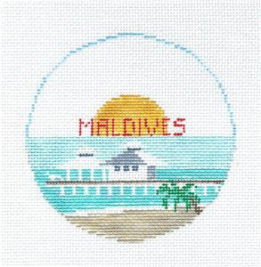 Travel Round~The MALDIVES in Indian Ocean Needlepoint Ornament Canvas by Kathy Schenkel RD.**MAY NEED TO BE SPECIAL ORDERED**