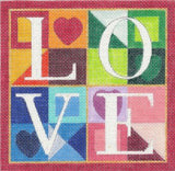 "Canvas~ ""LOVE"" Wedding or Anniversary 5.75"" Sq. HP Needlepoint Canvas Raymond Crawford"