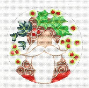 Round ~Holly & Ivy Hat Santa handpainted Round Needlepoint Ornament Curtis Boehringer