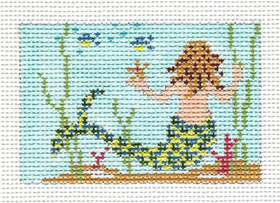 "Canvas~ MERMAID to fit Planet Earth ID TAG 2"" by 3"" handpainted Needlepoint Canvas N.Crossings"