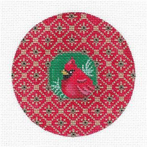 Round~Cardinal Bird with Crystals handpainted Needlepoint Canvas Amanda Lawford