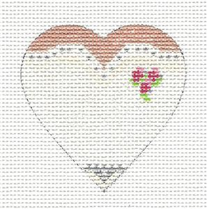 Elegant BRIDE HEART handpainted Needlepoint Canvas Ornament by Funda Scully
