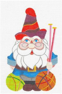Canvas~ Knitting Gnome handpainted Needlepoint Canvas from Raymond Crawford