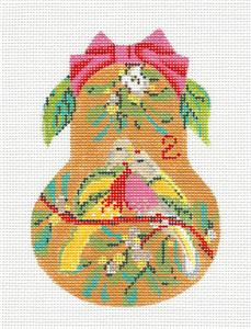 Kelly Clark Pear – 2 Turtle Doves & STITCH GUIDE handpainted Needlepoint Ornament by Kelly Clark