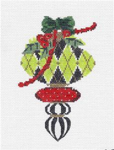 Kelly Clark Christmas–  Elegant Green,Red & Gold Ornament HP Needlepoint Canvas by Kelly Clark