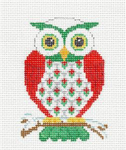 Christmas~ CHRISTMAS OWL handpainted Needlepoint Canvas Ornament by Susan Roberts