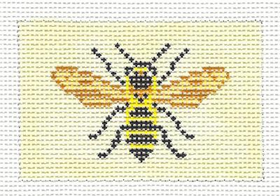 "Canvas~ Bumble Bee to fit Planet Earth ID TAG 2"" by 3"" handpainted Needlepoint Canvas N.Crossings"