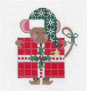 Mouse -Christmas Gift Mouse handpainted Needlepoint Ornament by CH Design ~ Danji