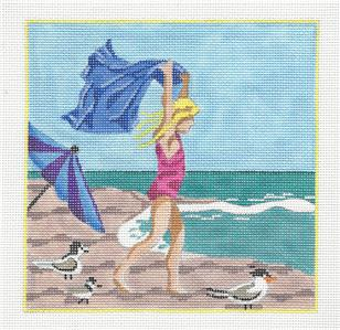 Canvas~Girl On The Beach & STITCH GUIDE handpaintd Needlepoint Canvas Kamala ~ Juliemar
