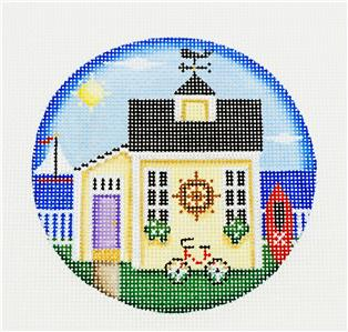 "Round ~ Beach Cottage 4"" handpainted Needlepoint Ornament Canvas by Rebecca Wood~MAY NEED TO BE SPECIAL ORDERED"