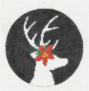 Round-Christmas Poinsettia Stag handpainted Needlepoint Canvas by Liora Manne from CBK