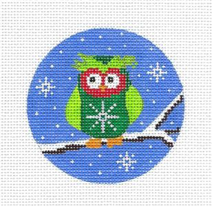 Round- GREEN OWL on a BRANCH Ornament handpainted 13m Needlepoint Canvas by Karen ~ CBK