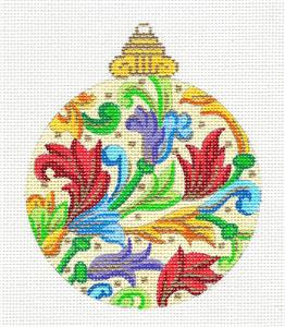 Ornament~Florentine Red Plumes Ornament handpainted Needlepoint Canvas by Alexa