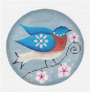 Round ~ Bluebird of the Month of April HP Needlepoint Canvas by Rebecca Wood