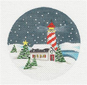 Snowy Lighthouse Cove handpainted Needlepoint Canvas Ornament by DK