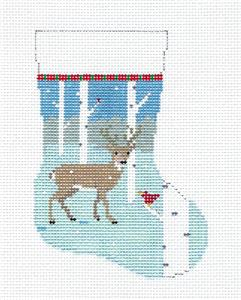 Christmas~Deer in Woods Mini Stocking handpainted 13mesh Needlepoint Canvas Susan Roberts