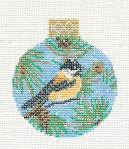 "Round~3.25"" Chickadee Bird Ornament handpainted Needlepoint Canvas Whimsy & grace"