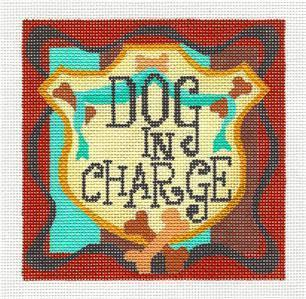 "Canvas~ DOG IN CHARGE handpainted 5"" Sq. Needlepoint Canvas by Raymond Crawford"