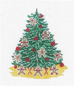 Canvas~Gingerbread Man Cookie Christmas Tree HP Needlepoint Canvas Needle Crossings