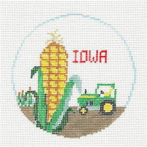 Travel Round~IOWA handpainted Needlepoint Ornament Canvas by Kathy Schenkel RD. ***MAY NEED TO BE SPECIAL ORDERED****