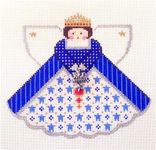 Angel~Royal Blue Queen Angel & Charms handpainted Needlepoint Canvas Painted Pony **MAY NEED TO BE SPECIAL ORDERED**