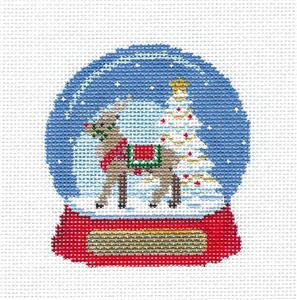 Christmas~Reindeer SNOW GLOBE handpainted Needlepoint Canvas Ornament by Susan Roberts