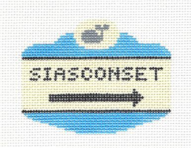 Canvas~ Nantucket ~ SIASCONSET, MA. SIGN handpainted Needlepoint Canvas by Silver Needle