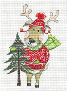 "Canvas~""Nordic Reindeer"" handpainted Needlepoint Ornament Canvas L. Siebert ~ Pony"