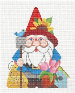 Canvas~Spring GARDEN GNOME handpainted Needlepoint Canvas by Raymond Crawford