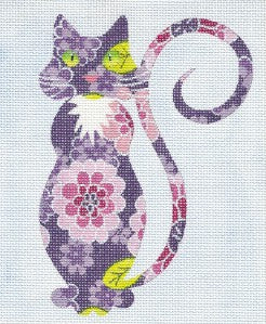 Canvas Cat~ Sophisticated Zinnia Cat handpainted Needlepoint Canvas Ornament or Insert LEE