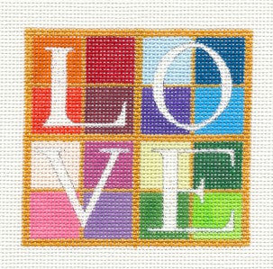 "Canvas~""LOVE"" Wedding & Anniversary 3.25"" Sq. Needlepoint Canvas ~ Raymond Crawford"