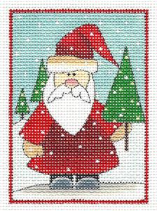 Canvas ~ Christmas Woodland Santa & Tree handpainted Needlepoint Canvas by Renaissance