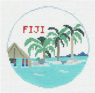Travel Round~FIJI ISLAND handpainted Needlepoint Canvas Ornament Kathy Schenkel**MAY NEED TO BE SPECIAL ORDERED**