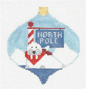 Bauble~ North Pole WALRUS handpainted Needlepoint Ornament Canvas Kathy Schenkel