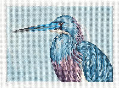 Canvas~ Tri-Color Heron Shore Bird handpainted Needlepoint Canvas Needle Crossing