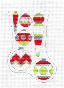 Stocking~Christmas Ornaments Mini Stocking handpainted Needlepoint Ornament Ray. Crawford