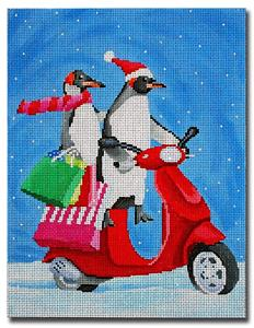 Canvas~Christmas Penguins on a Scooter handpainted Needlepoint Canvas by Scott Church ***SPECIAL ORDER***