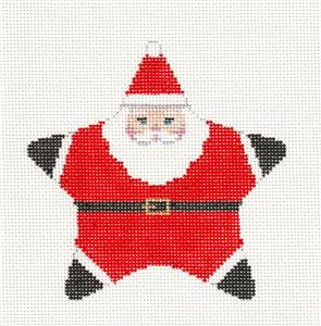 Christmas~Santa Star Ornament handpainted Needlepoint Canvas by Susan Roberts