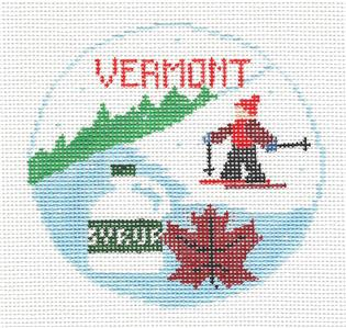 Travel Round~VERMONT handpainted Needlepoint Ornament Canvas by Kathy Schenkel RD. ***MAY NEED TO BE SPECIAL ORDERED****
