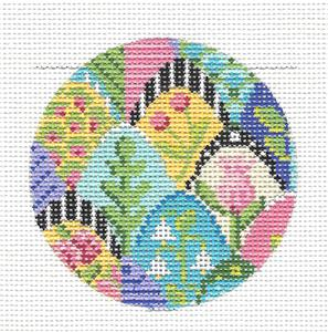 Kelly Clark Round –Beautiful Tropical Collage handpainted Needlepoint Canvas